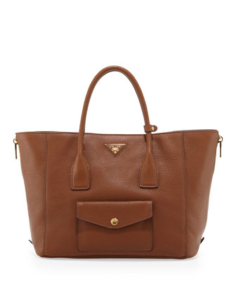 Daino Side-Zip Twin Pocket Tote Bag, Medium Brown (Brandy)