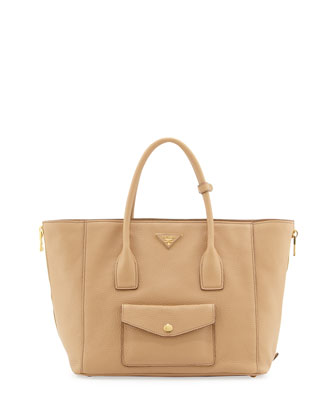 Daino Side-Zip Pocket Tote Bag, Tan (Nocciola)