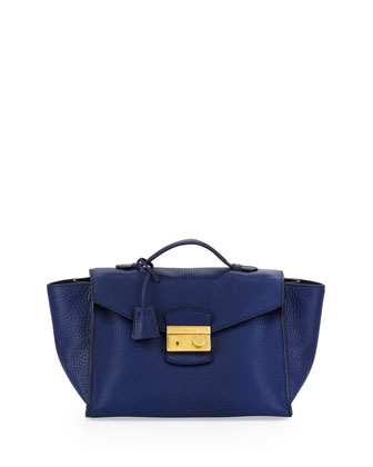 Daino Twin Pocket Satchel Bag, Blue (Inchiostro)