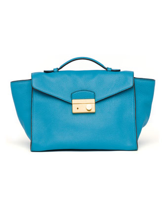 Daino Twin Pocket Satchel Bag, Turquoise