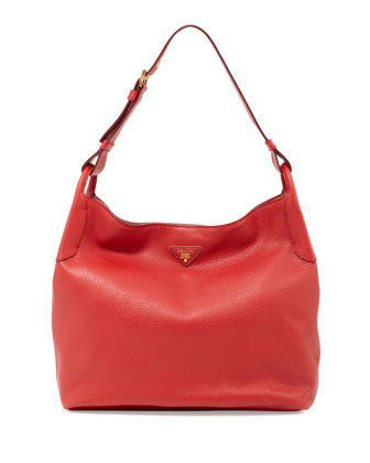 Vitello Daino Single-Strap Hobo, Red (Rosso)