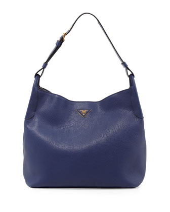 Vitello Daino Single-Strap Hobo, Dark Blue (Inchiostro)