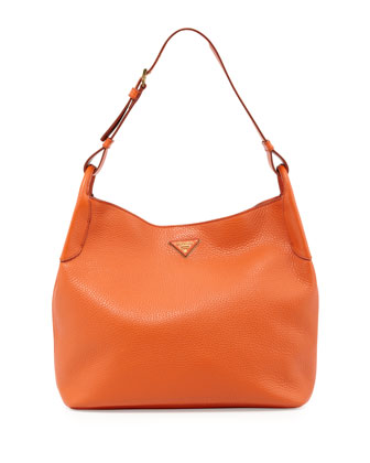Vitello Daino Hobo Bag, Orange (Papaya)