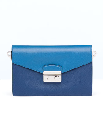 Saffiano Bi-Color Sound Bag, Blue (Bluette+Cobalto)