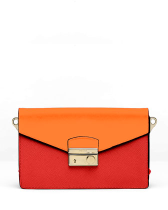 Saffiano Bi-Color Sound Bag, Red/Orange (Fuoco+Papaya)
