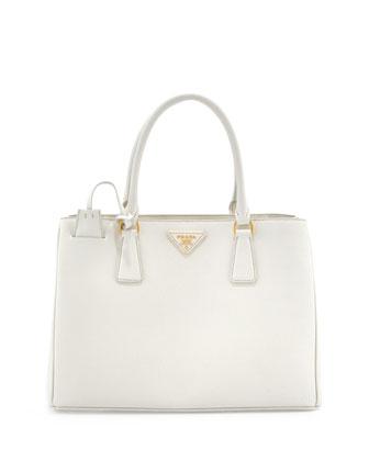 Saffiano Small Gardener's Tote Bag, White (Talco)