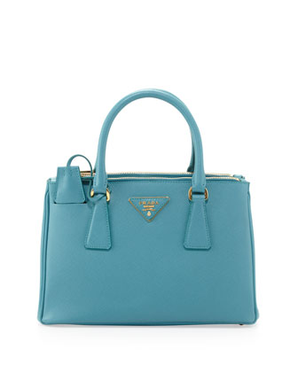 Saffiano Mini Double-Zip Crossbody Bag, Turquoise (Turchese)