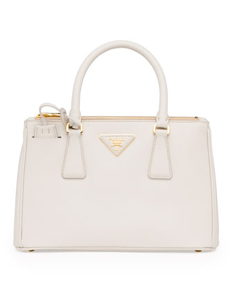 Mini Saffiano Lux Tote Bag, White (Talco)