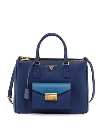 Saffiano Galleria Tote with Pocket, Blue/Cobalt