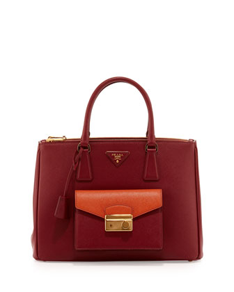 Saffiano Galleria Tote with Pocket, Red/Orange (Cerise+Papaya)