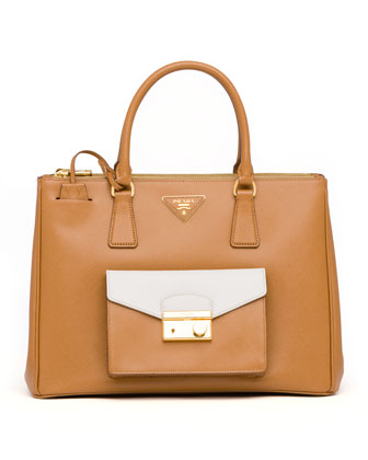 Saffiano Galleria Tote with Pocket, Brown/White (Caramel+Talco)