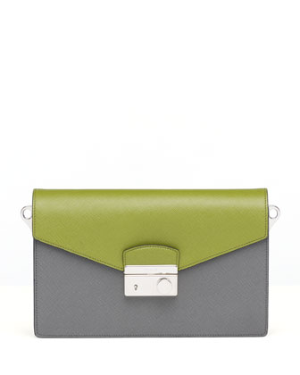 Saffiano Bi-Color Sound Bag, Green/Gray