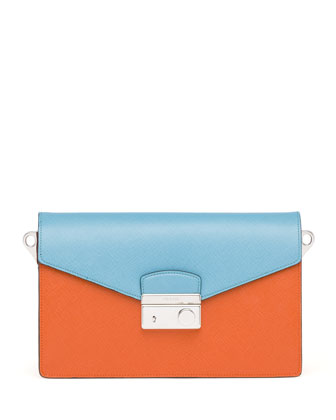 Saffiano Bi-Color Sound Bag, Papaya/Turquoise