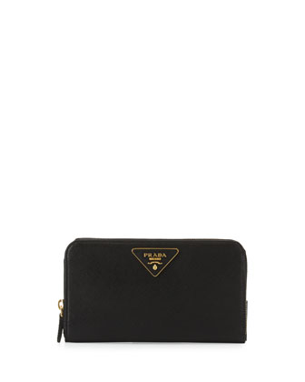 Saffiano Triangle Zip-Around Wallet, Black (Nero)