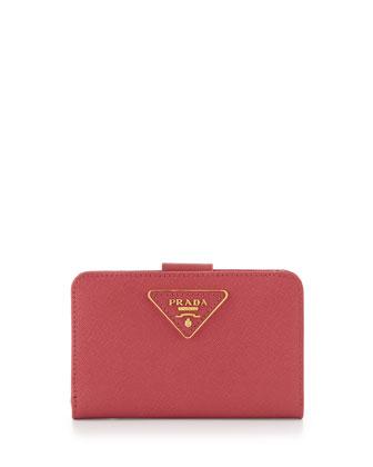 Saffiano Triangle Bi-Fold Tab Wallet, Pink (Peonia)