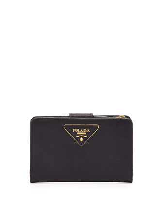 Saffiano Triangle Bi-Fold Tab Wallet, Black