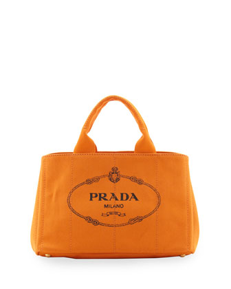 Canvas Small Logo Tote with Strap, (Orange) Papaya