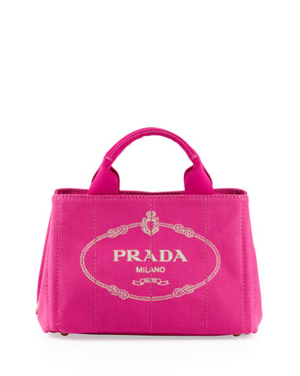 Canvas Mini Logo Tote with Strap, Pink (Fuxia)