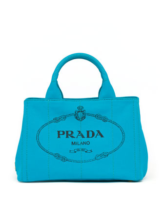 Canvas Mini Logo Tote with Strap, Turquoise (Pavone)