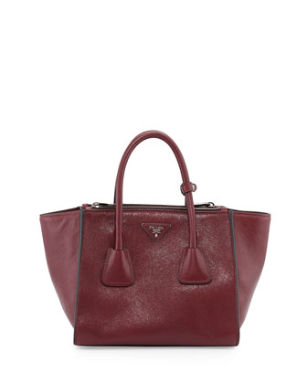 Glace Calf Small Twin-Pocket Tote Bag, Fuchsia (Fuxia)