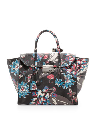 Saffiano Floral Print Large Twin-Pocket Tote, Black Multi (Nero Dis.Ramage)