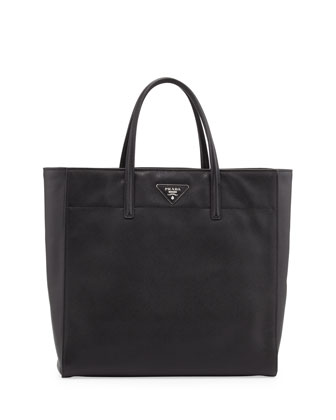 Saffiano Magazine Tote Bag, Black (Nero)