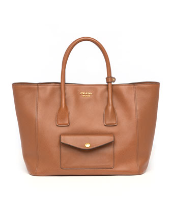 Saffiano Cuir Pocket Tote Bag, Brown