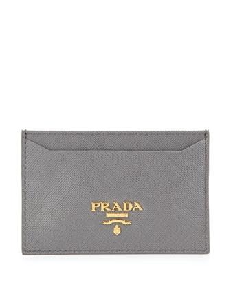 Saffiano Card Holder, Gray (Marmo)