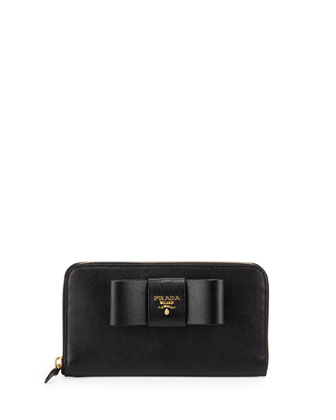 Saffiano Bow Zip Around Wallet, Black (Nero)