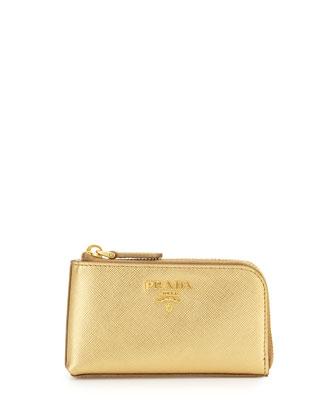 Saffiano Key Pouch, Golden(Platino)