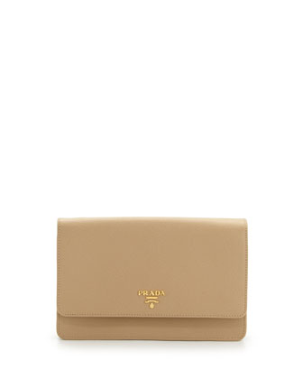 Saffiano Wallet Crossbody Bag, Beige (Sabbia)