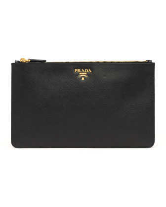 Saffiano Double-Snap Travel Pouch, Black (Nero)
