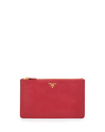 Saffiano Double Snap Travel Pouch, Pink (Peonia)