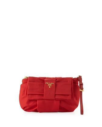 Tessuto Bow Wristlet, Red (Rosso)