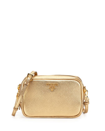 Saffiano Small Zip Crossbody Bag, Gold (Platino)