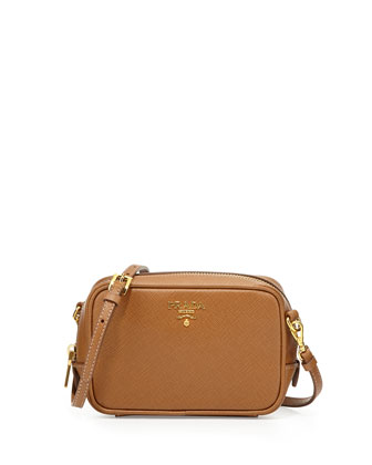 Saffiano Small Zip Crossbody Bag, Brown (Caramel)