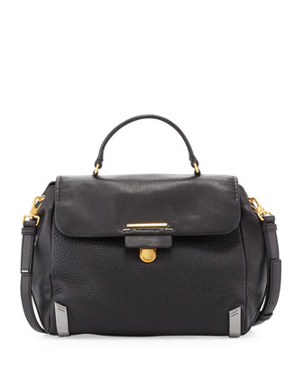 Sheltered Island Top-Handle Satchel, Black