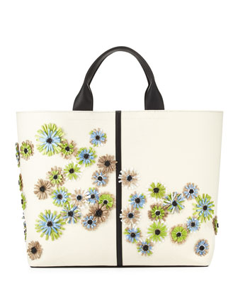 Floral Track Leather Tote Bag