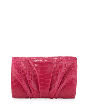 Crocodile Ruched Clutch Bag, Pink