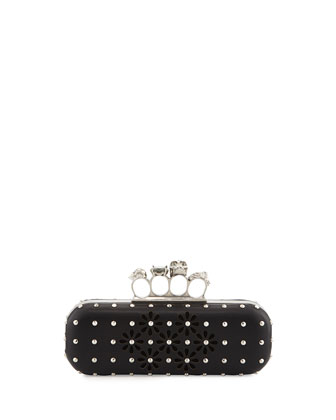 Cutout Flower Long Knuckle Box Clutch Bag, Black