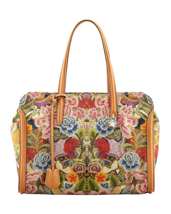 New Skull Padlock Floral-Print Zip-Around Tote Bag