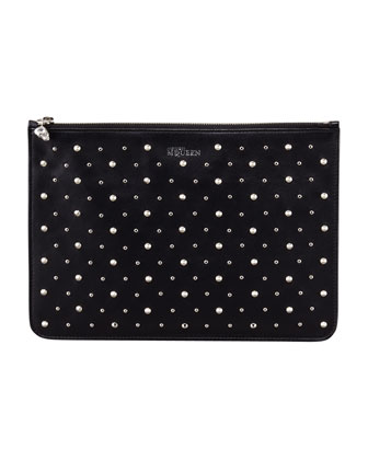 Napa Studded Skull Zip Pouch, Black