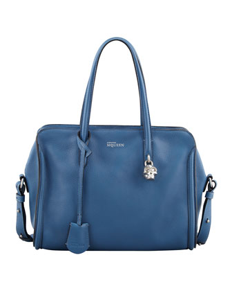 Small Padlock Zip-Around Tote Bag, Blue