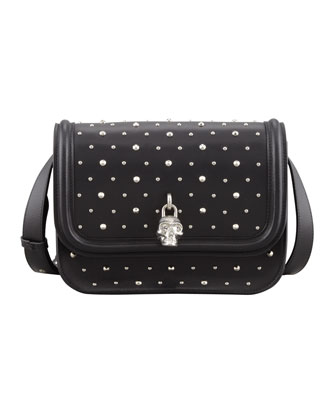 Small Studded Padlock Crossbody Bag, Black