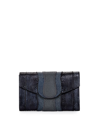 Herzog Python & Stingray Clutch Bag, Gray Multi