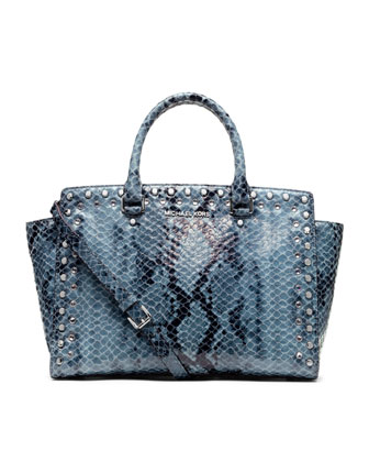 Large Jewel Trim Selma Snake-Print Satchel