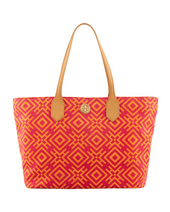 Geometric-Print Canvas Tote Bag, Pink/Orange