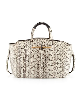 Gena Medium East-West Snake Tote Bag, Black/White