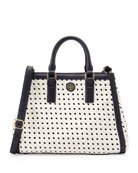 Robinson Basket-Weave Triangle Tote Bag, White/Navy