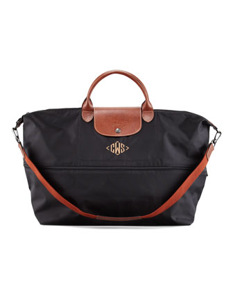 Le Pliage Monogrammed Expandable Travel Bag, Black